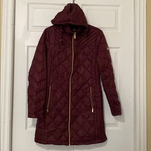 MK Quilted Nylon Packable Puffer Maroon Color
